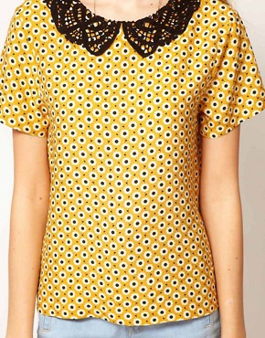 Image 3 ofASOS Top With Daisy Print And Crochet Collar