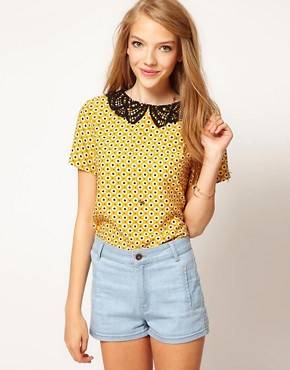 Image 1 ofASOS Top With Daisy Print And Crochet Collar