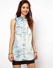River Island Sleeveless Denim Western Shirt
