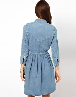 Image 2 ofASOS Denim Shirt Dress in Vintage Wash