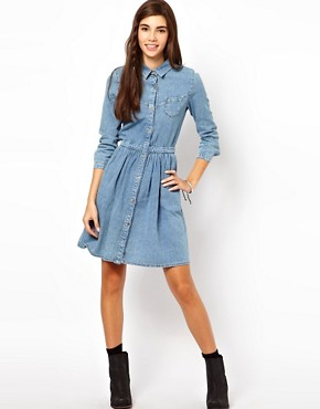 Image 4 ofASOS Denim Shirt Dress in Vintage Wash
