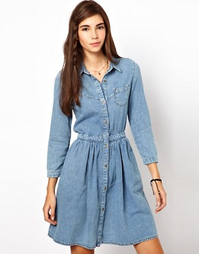 Image 1 ofASOS Denim Shirt Dress in Vintage Wash