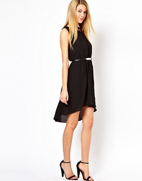 Image 1 ofOasis Metal Trim Dip Hem Dress