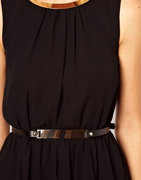 Image 3 ofOasis Metal Trim Dip Hem Dress