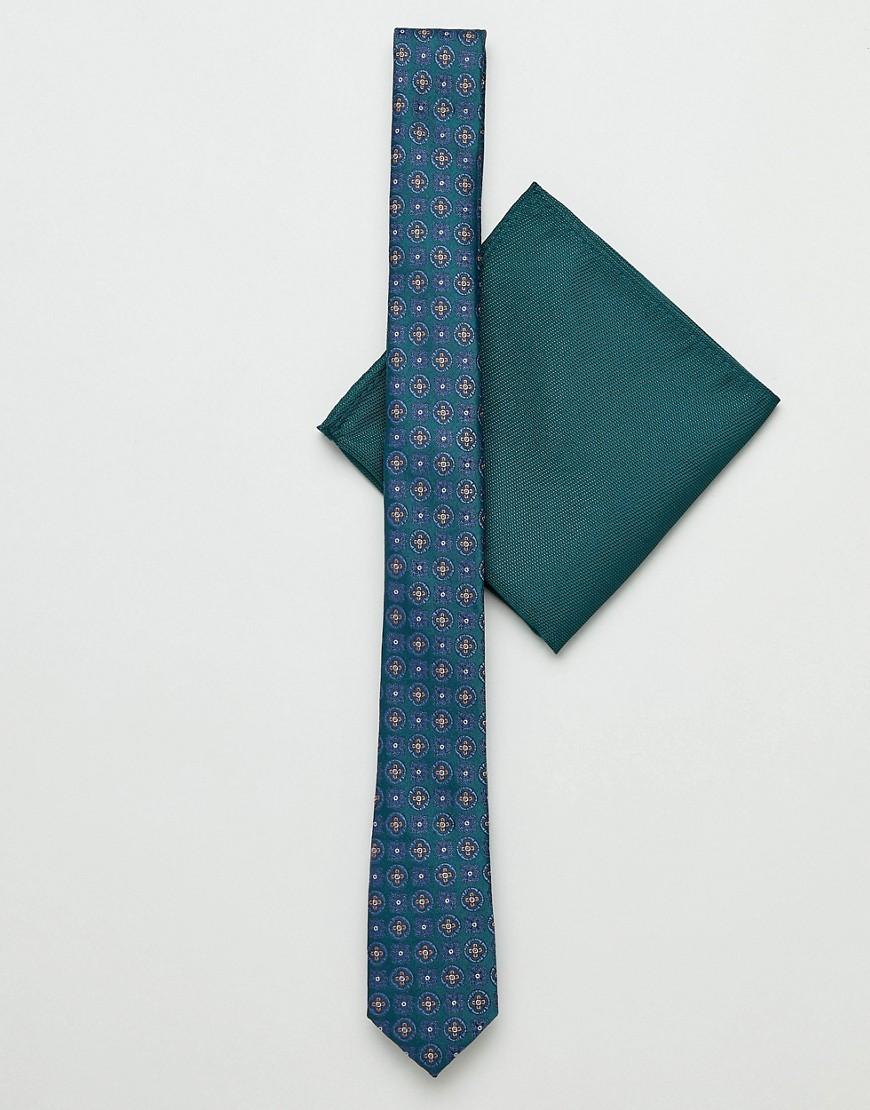 Узкий галстук с геометрическим принтом и зеленый платок-паше ASOS DESI ASOS DESIGN