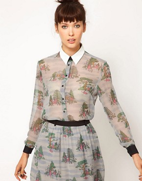 Image 1 ofAntipodium Dearly Departed Blouse with Faux Leather Collar Detail