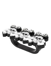 Funky Bling Three Finger Skull Ring
