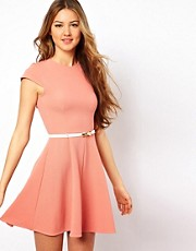 Club L Skater Dress With White Bow Belt