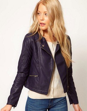 Image 1 ofA Wear Navy Leather Look Biker Jacket