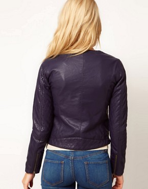 Image 2 ofA Wear Navy Leather Look Biker Jacket