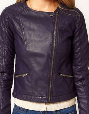 Image 3 ofA Wear Navy Leather Look Biker Jacket