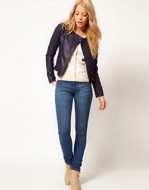 Image 4 ofA Wear Navy Leather Look Biker Jacket