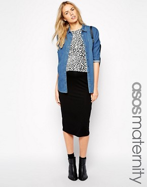 ASOS Maternity Midi Pencil Skirt in Jersey