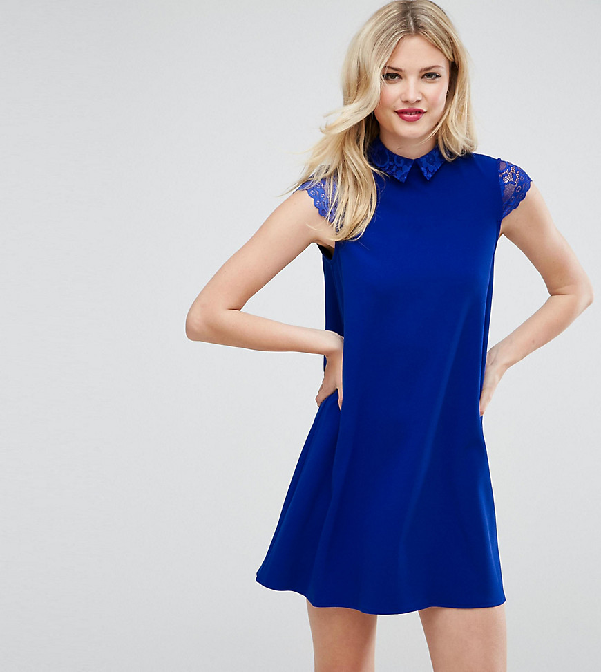ASOS TALL Smock Dress with Pleats and Lace Details