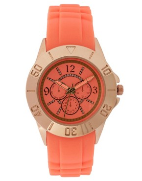 Image 1 ofASOS Rose Gold Silicone Watch