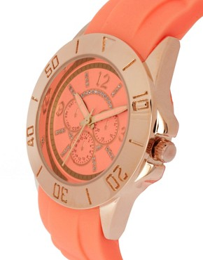 Image 3 ofASOS Rose Gold Silicone Watch