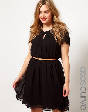 Image 1 ofASOS CURVE Skater Dress With Twist Neck