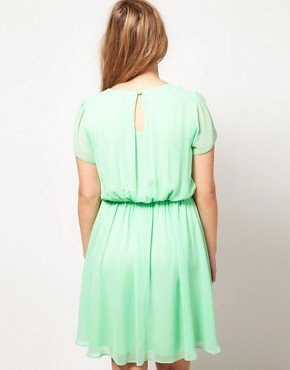Image 2 ofASOS CURVE Skater Dress With Twist Neck