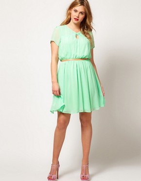 Image 4 ofASOS CURVE Skater Dress With Twist Neck