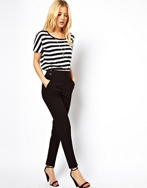 Image 1 ofASOS High Waist Trousers With Button Detail