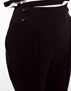 Image 3 ofASOS High Waist Trousers With Button Detail