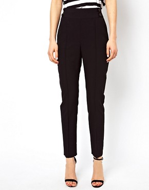 Image 4 ofASOS High Waist Trousers With Button Detail