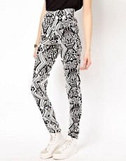 Jeggings pitillo de talle alto con estampado azteca de Vero Moda
