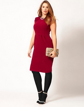 Image 4 ofASOS CURVE Textured Tulip Dress With Ruffle Shoulders