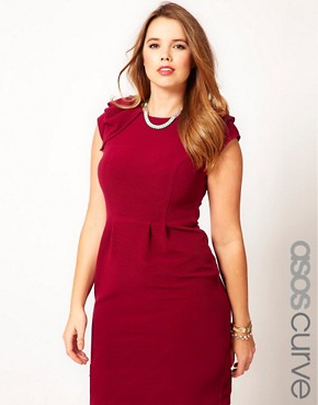 Image 1 ofASOS CURVE Textured Tulip Dress With Ruffle Shoulders
