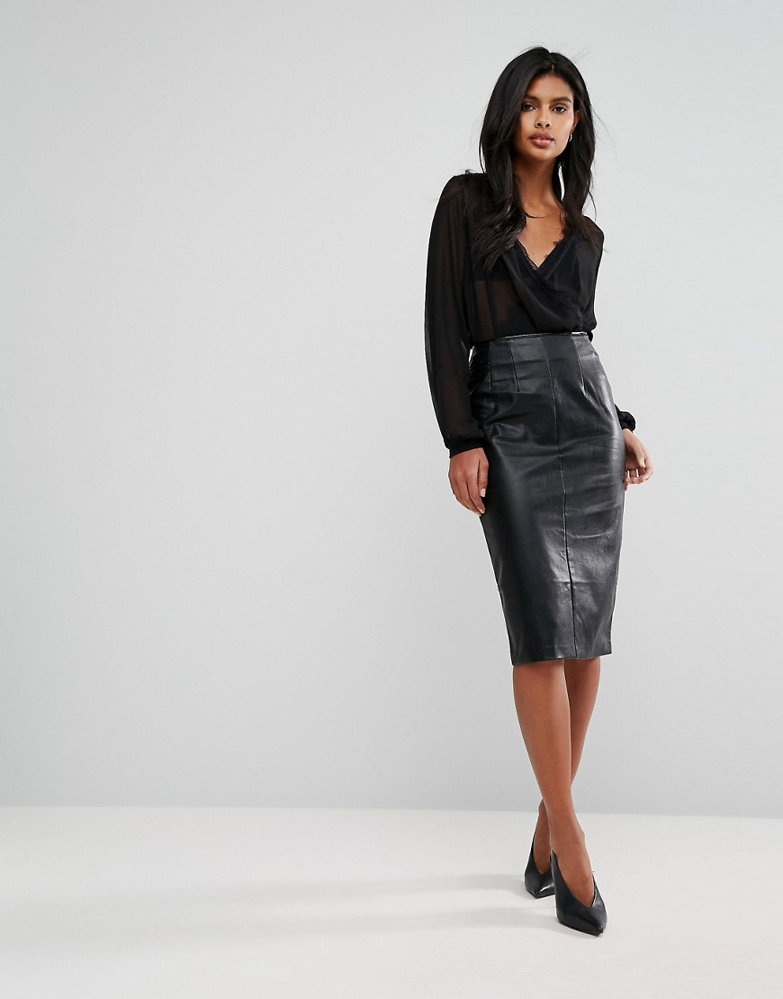 Oasis Faux Leather Pencil Skirt - Black