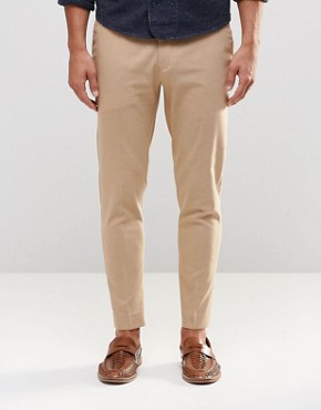 ASOS Super Skinny Cropped Trousers in Camel