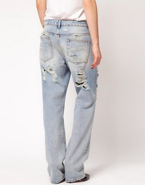 Image 2 ofASOS Boyfriend Jeans with Ripped Detail
