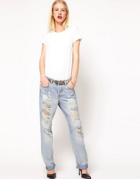 Image 4 ofASOS Boyfriend Jeans with Ripped Detail
