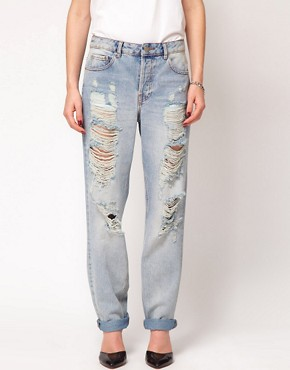 Image 1 ofASOS Boyfriend Jeans with Ripped Detail