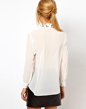 Image 2 ofASOS PETITE Exclusive Shirt With Embellished Collar And Placket