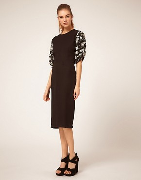 Image 1 ofASOS Midi Dress with Embellished Sleeves