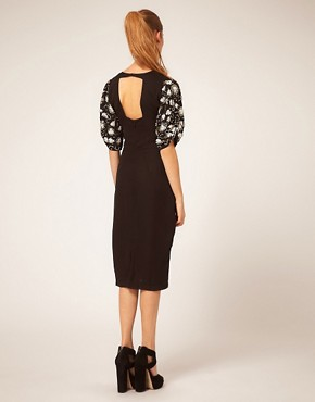 Image 2 ofASOS Midi Dress with Embellished Sleeves