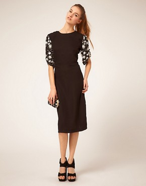 Image 4 ofASOS Midi Dress with Embellished Sleeves