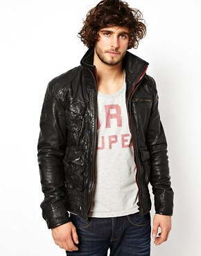 Image 1 ofSuperdry Leather Jacket