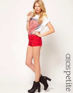 Image 1 ofASOS PETITE Exclusive Denim Hot Pants