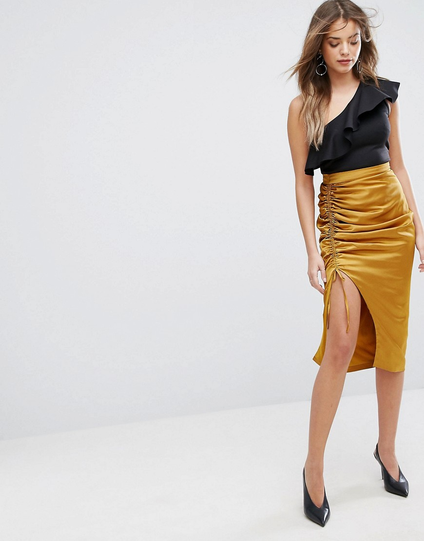 Lavish Alice Gold Satin Ruch Midi Skirt - Gold