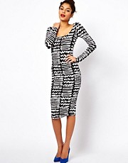 ASOS Bodycon Dress In Zig Zag Print