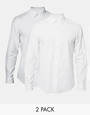 ASOS Smart Shirt In Long Sleeve 2 Pack SAVE 21%