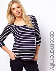 ASOS Maternity Exclusive Stripe T-Shirt with Scoop Neck