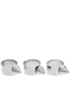 Image 1 ofASOS Multipack Adjustable Spike Band Rings