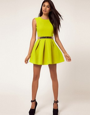 Image 4 ofAqua Floyd Dress Structured Skater with Metal Section Belt