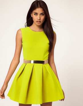 Image 1 ofAqua Floyd Dress Structured Skater with Metal Section Belt