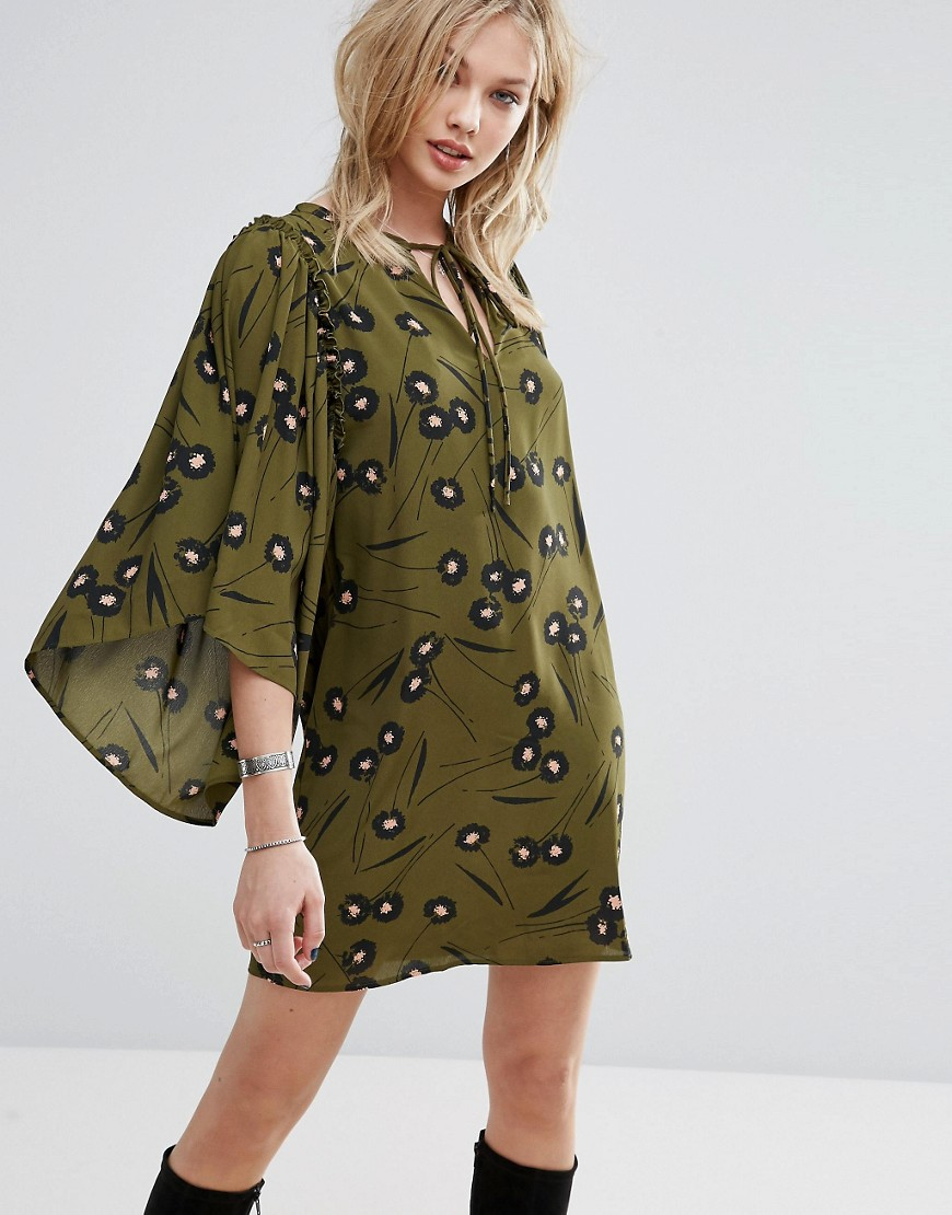 Mango Flute Sleeve Printed Smock Dress - Green