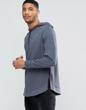 ASOS Half Zip Hoodie With Curved Hem & Side Splits
