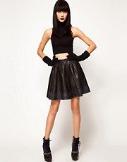 ASOS BLACK By Markus Lupfer Leather Skater Skirt In Print